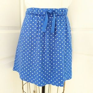 J. Crew Boardwalk Linen Polka Dot Skirt Size 8